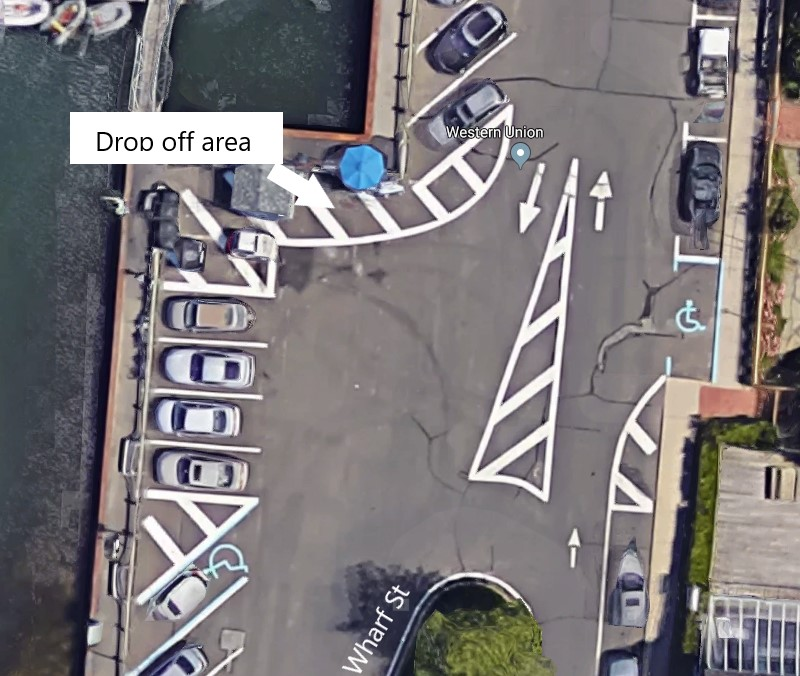 Satellite view of American Beauty Cruises & Charters ticket stand on Long Wharf