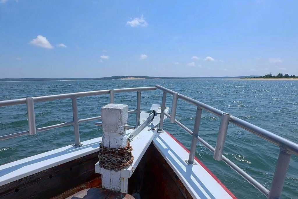 Boat rides and boat rentals Hamptons water view from the bow of American Beauty II in Sag Harbor.
