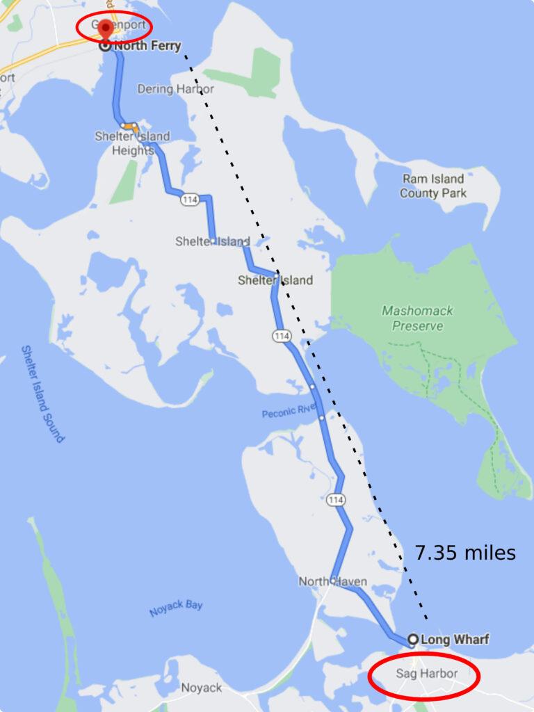 map of greenport NY to Sag Harbor Ny